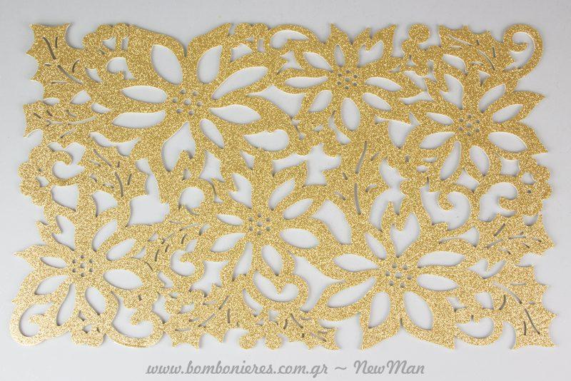Τσόχινο σουπλά με σχέδιο λουλούδια σε χρυσαφένια απόχρωση.