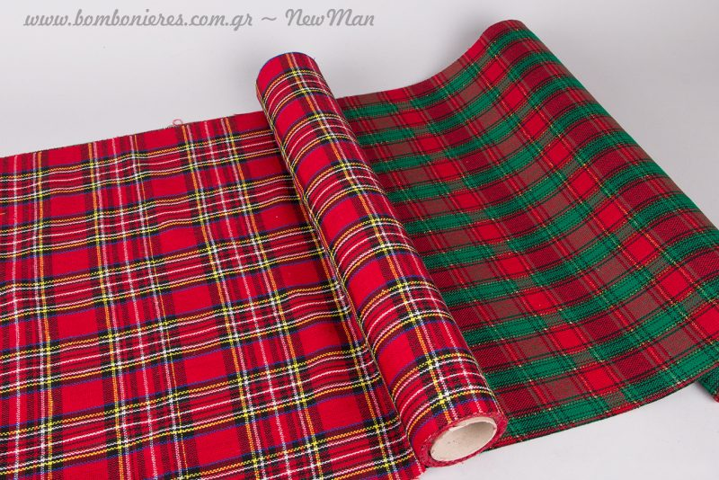 Καρό ύφασμα (50cm x 5m) σε πράσινο - κόκκινο ή κόκκινο-μπλε-κίτρινο.