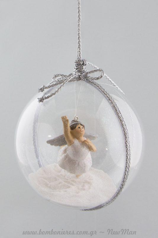 DIY διάφανες μπάλες με XL Αγγελίνες, χρυσόσκονη και μεταλλικό κορδόνι για τις χριστουγεννιάτικες συνθέσεις σας.