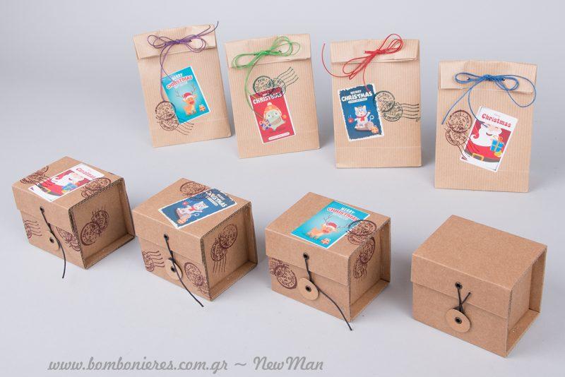 Κραφτ κουτιά και Φακελάκια Κραφτ (9.5 x 16.5 x 5cm) με αυτοκόλλητα πολύχρωμα «Merry Christmas».