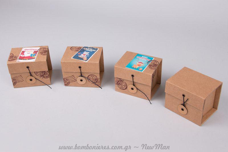 Κραφτ κουτιά και χριστουγεννιάτικα αυτοκόλλητα για το εορταστικό αμπαλάζ σας.