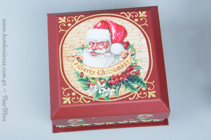 Χάρτινα χριστουγεννιάτικα κουτιά Santa σε κόκκινο χρώμα: (14x14x6cm), (17x17x8cm) και (19x19x8cm)