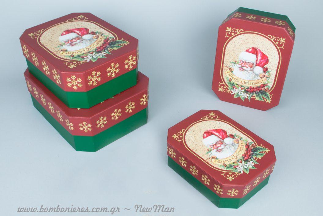 Δίχρωμα χάρτινα πολυγωνικά κουτιά Santa για τις εορταστικές σας συσκευασίες.