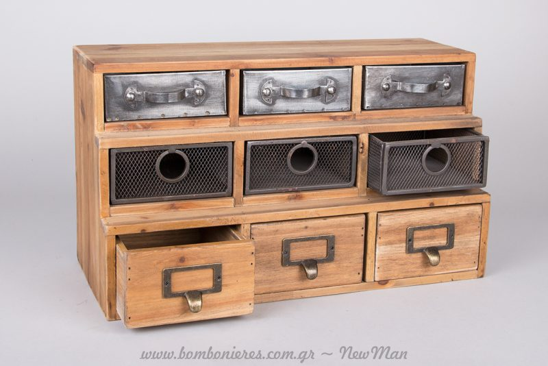 Ξύλινη συρταριέρα (43cm) με μεταλλικές, ξύλινες ή σφυρήλατες προσόψεις στα συρταράκια της για την οργάνωση του γραφείου σας.