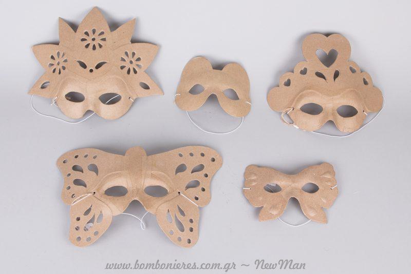 Μάσκες Papier Mache σε διάφορα μεγέθη και σχέδια. (Πεταλούδα/παιδική, Αρκουδάκι/ παιδική, σχέδιο με λουλούδια κα.).