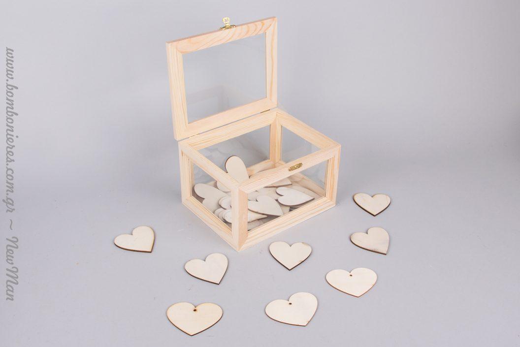 Ξύλινες ευχές σε σχήμα καρδιάς (διατίθενται σε συσκευασία των 10 ή 50 καρδιών αναλόγως την επιλογή σας).