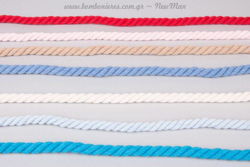 Βαμβακερό χρωματιστό κορδόνι για κάθε είδους χρήση (5m).