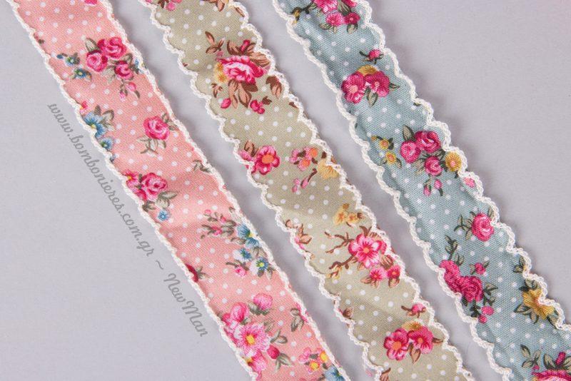 Υφασμάτινες κορδέλες εμπριμέ (φλοράλ μοτίβο) σε γαλάζιο, ροζ και γκρι-λαδί.