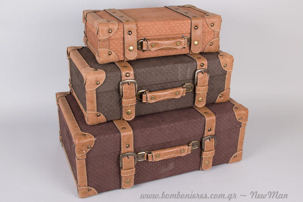Vintage βαλίτσες για τη διακόσμηση του τραπεζιού των ευχών ή για την αποθήκευση σημαντικών σας αντικειμένων.