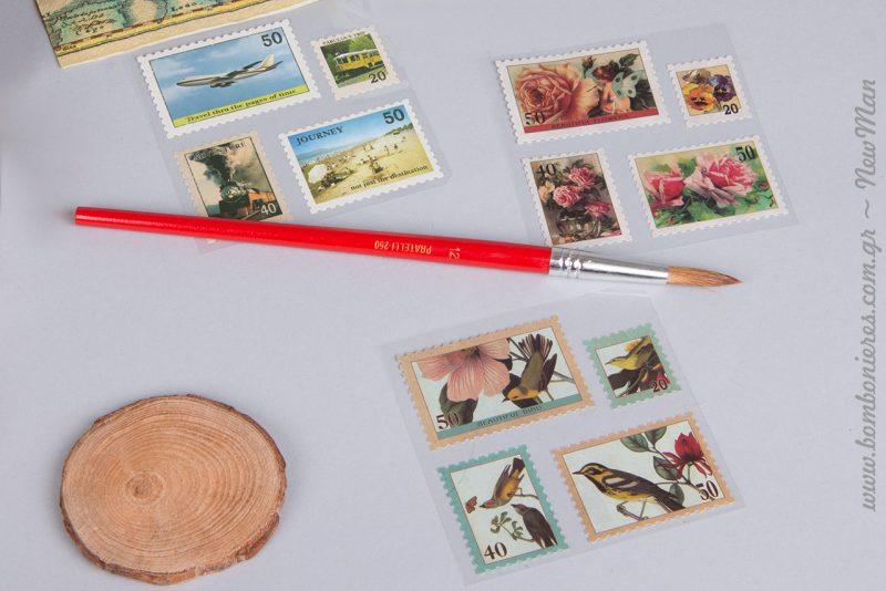 Υπέροχα γραμματόσημα με vintage αισθητική και ροδέλες ξύλου σε διάφορα μεγέθη για τις ευχές των καλεσμένων σας.