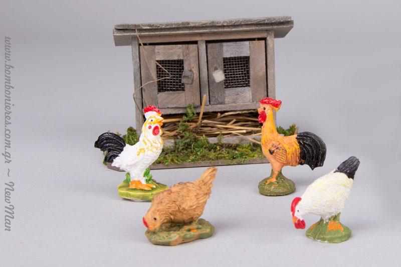 Ξύλινο κλουβί για πουλερικά (9x4.5x6cm), κοτούλες και κοκοράκια.