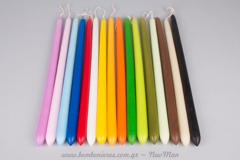 Κεριά οβάλ κλασικά σε μεγάλη χρωματική ποικιλία για τις πασχαλινές σας λαμπάδες (κωδ. 180221).