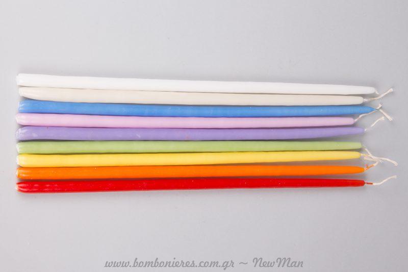 Τα λεπτά μας ανθόκερα μπορούν να χρησιμοποιηθούν και διπλά (2 κεριά μαζί) σε συνδυασμό χρωμάτων.