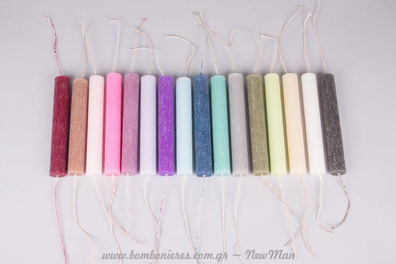 Αρωματικό ρουστίκ στρογγυλό κερί σε ποικιλία αρωμάτων και χρωμάτων.