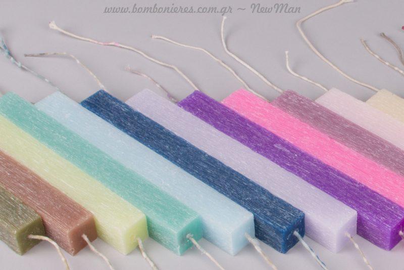 Τετράγωνα αρωματικά κεριά με μακρύ φυτίλι για ξεχωριστές δημιουργίες.