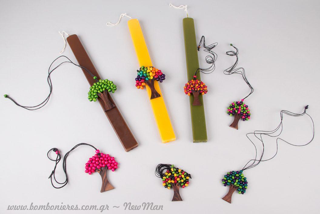 Λαμπάδα με κολιέ (Δέντρο της Ζωής) σε πλούσια χρωματική ποικιλία.