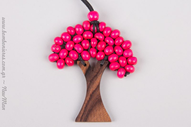 Ροζ χάντρες για ένα σούπερ κοριτσίστικο Δέντρο της Ζωής (κολιέ).