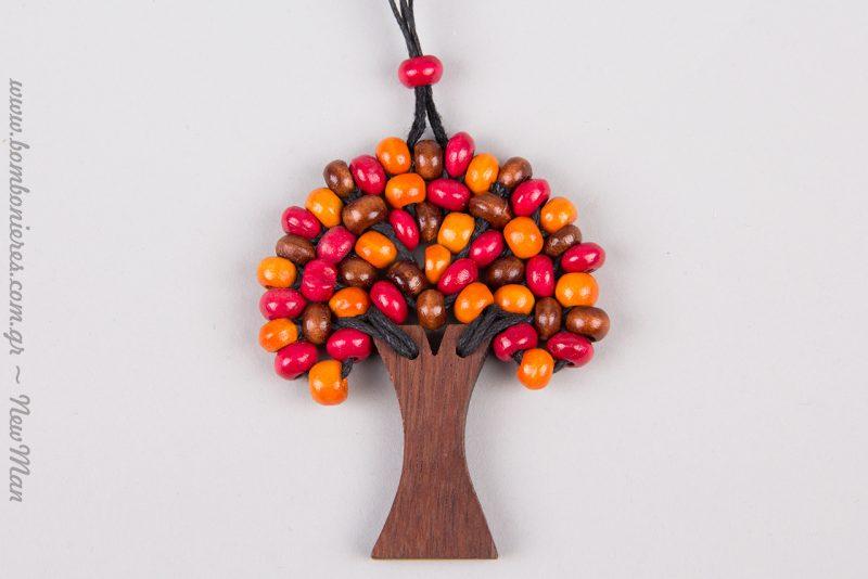 Κολιέ (Δέντρο της Ζωής) σε κόκκινους πορτοκαλί τόνους.