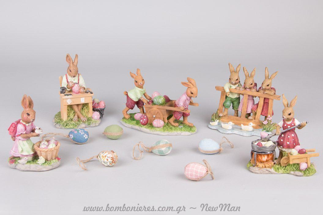Διακοσμητικοί πασχαλινοί λαγοί εμπνευσμένοι από την παράδοση που τους θέλει να φέρνουν τα αβγά.