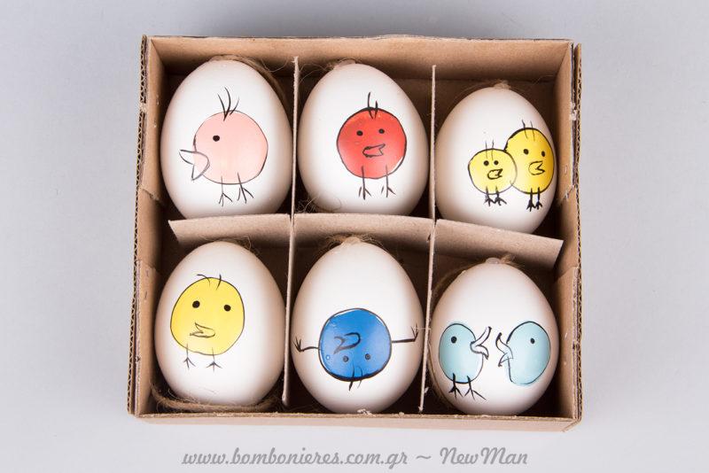 Κρεμαστά αβγά με μίνιμαλ σχέδιο πουλάκια (διατίθενται σε συσκευασία των 6 τεμαχίων).