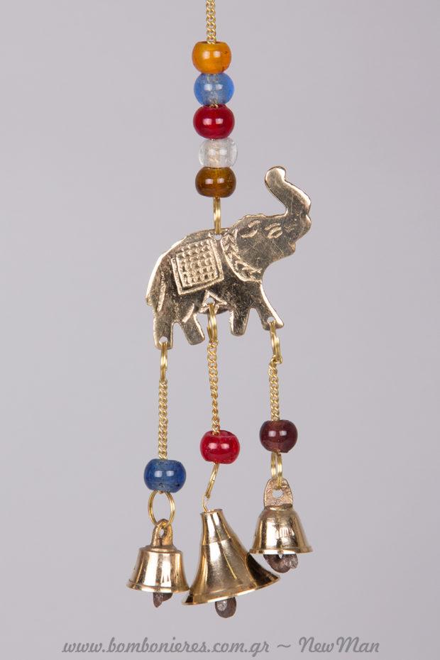 Μεταλλικός μελωδός με σχέδιο ελέφαντα, σύμβολο δύναμης και σοφίας (24cm).