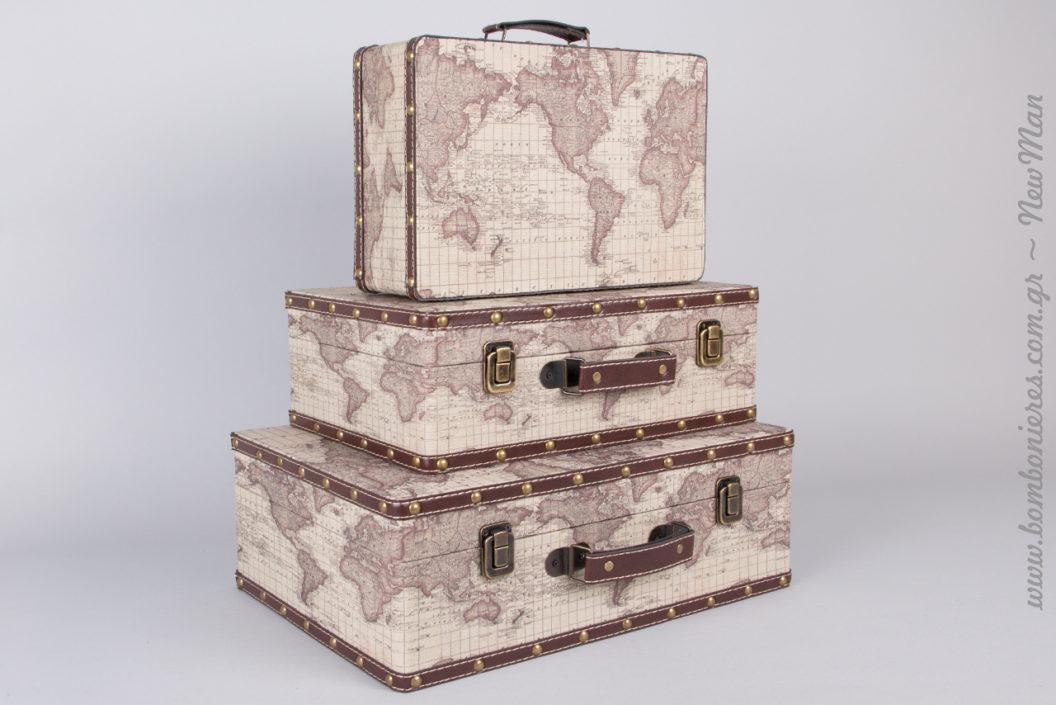 Ξύλινες ρετρό βαλίτσες με χάρτη
