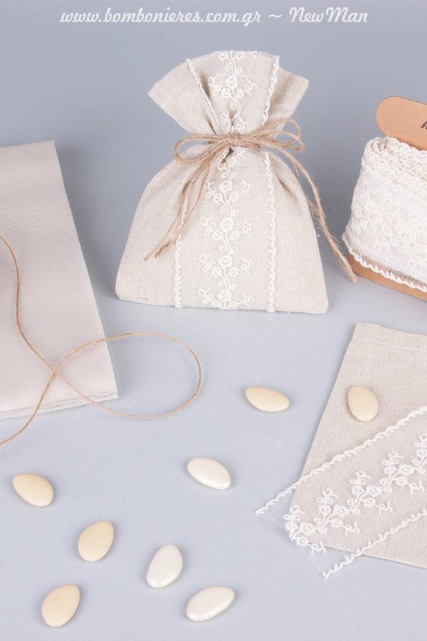 Τα αντίθετα έλκονται: καραβόπανο και δαντέλα τούλι για την μπομπονιέρα του γάμου σας.