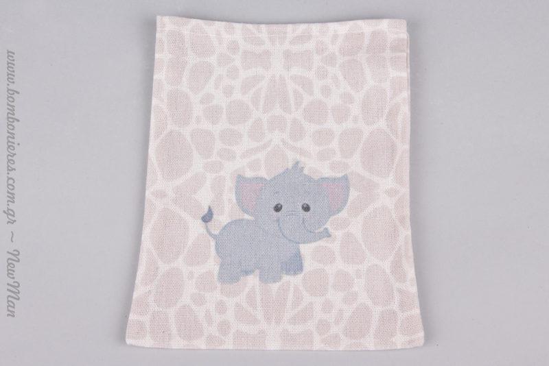 Μωρό ελεφαντάκι σε σιέλ απόχρωση για την μπομπονιέρα της βάπτισης.