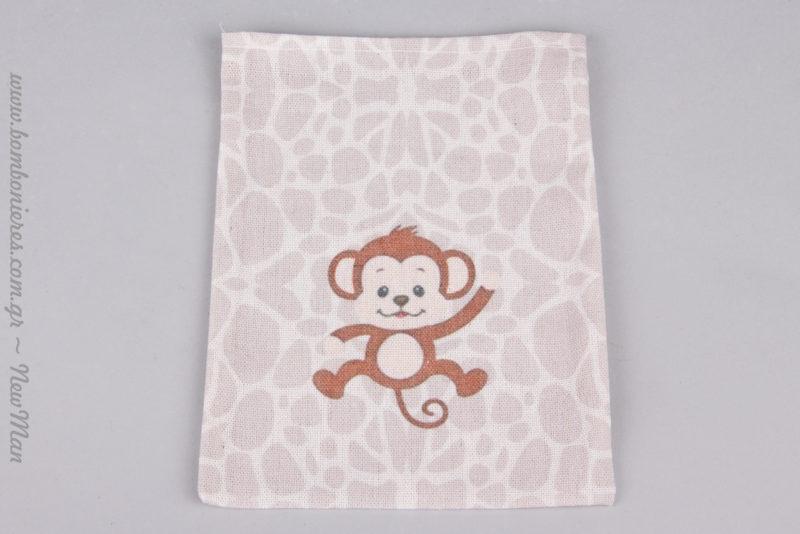 Χαρούμενη μαϊμουδίτσα σε λινό πουγκί για την μπομπονιέρα της βάπτισης.