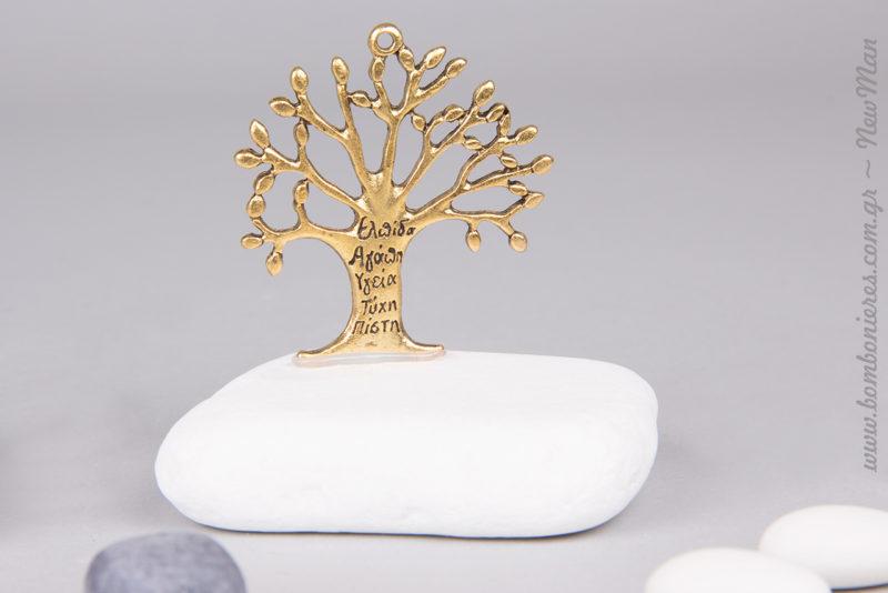 Κρεμαστά μεταλλικά Δέντρα της Ζωής πάνω σε πέτρα (μάρμαρο Θάσου).