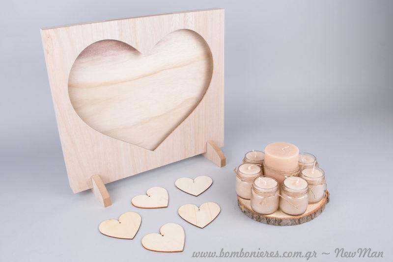 Ξύλινο ευχολόγιο με θέμα καρδιά (40 x 35cm) και ροδέλα ξύλου με 8 κεριά για ένα ρομαντικό Τραπέζι Ευχών.