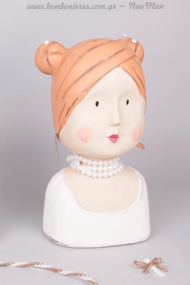 Κεφάλι νύφης με πέρλες (διακοσμητικό) 14 x 10 x 27cm.