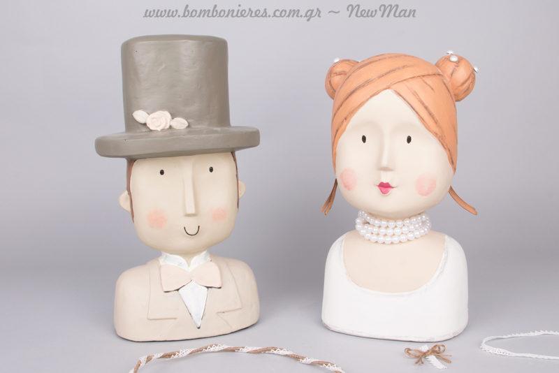 Διακοσμητικά κεφάλια (Γαμπρός & Νύφη) για το τραπέζι των Ευχών ή το γαμήλιο μπουφέ.