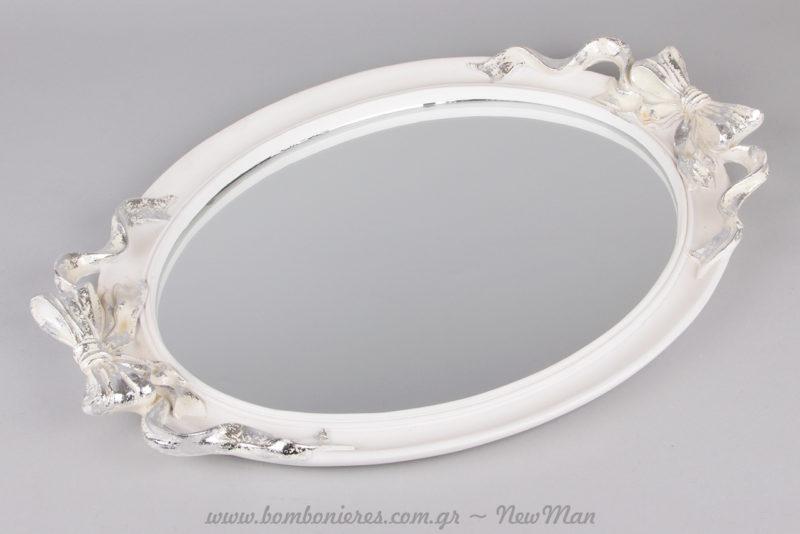 Καθρέφτης/δίσκος σε λευκό χρώμα με φιόγκους για τη διακόσμηση του σπιτιού ή του γάμου σας.