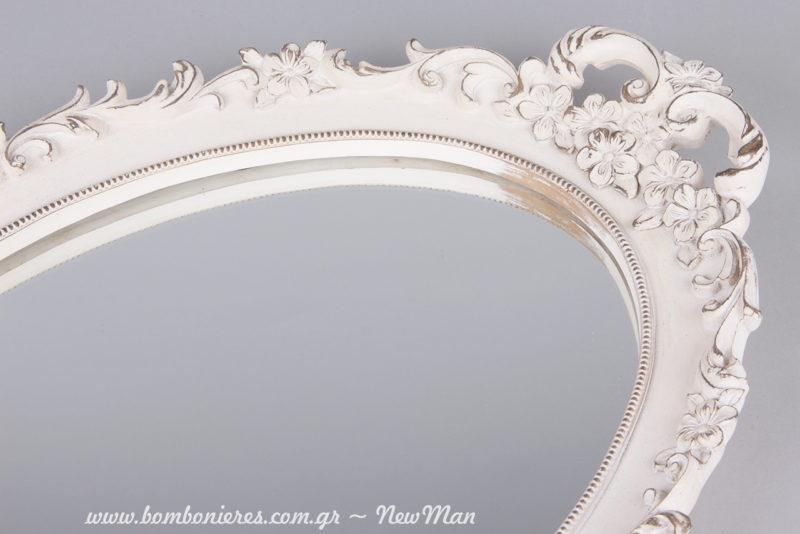 Οβάλ καθρέφτης/δίσκος σε λευκό χρώμα για το σετ κουμπάρου.