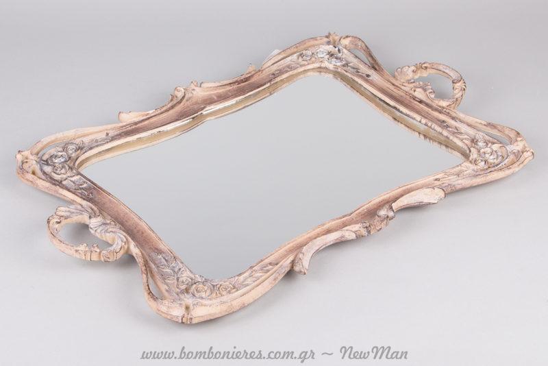 Ξύλινος καθρέφτης αντικέ για τη διακόσμηση του σπιτιού ή του γάμου σας.