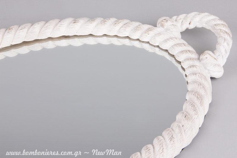 Οβάλ καθρέφτης σε λευκό χρώμα για τη διακόσμηση του σπιτιού ή του γάμου σας (κορνίζα από σχοινί).
