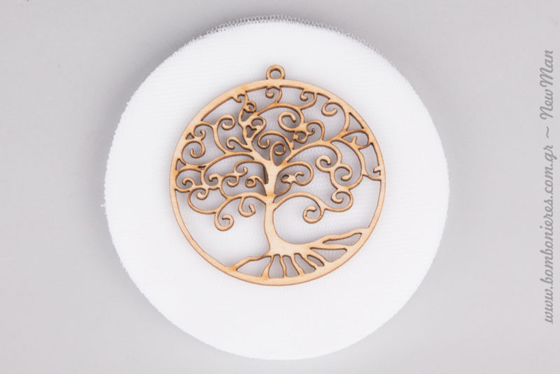 Ξύλινο Δέντρο της Ζωής με Λευκό Ελληνικό Τούλι.