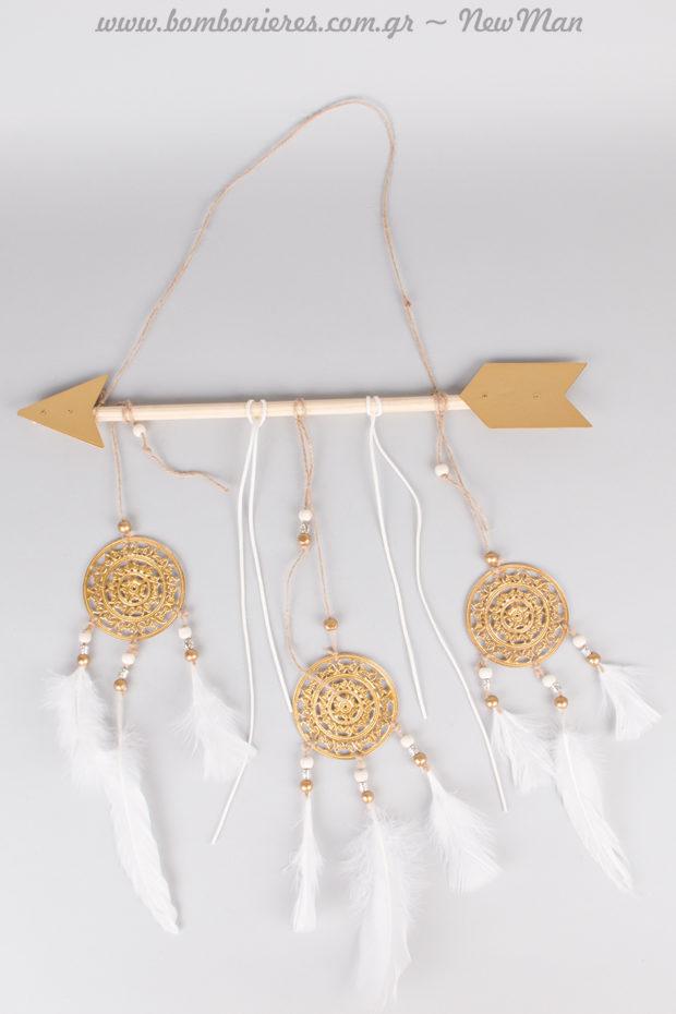 Κρεμαστό βέλος με Ονειροπαγίδες (45 x 70cm) για μια hippy chic ρομαντική διακόσμηση.