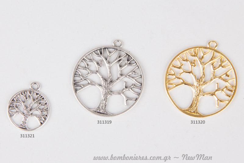 Μεταλλικό Δέντρο Τύχης μεγάλο σε ασημί ή χρυσαφένια απόχρωση και μικρότερο μεταλλικό Δέντρο Τύχης σε ασημί.