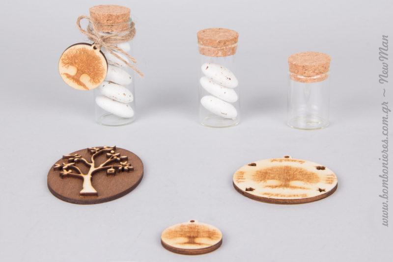 Μπομπονιέρα σε γυάλινο σωλήνα με σπάγκο και διακοσμητικό Δέντρο της Ζωής (φ3cm).