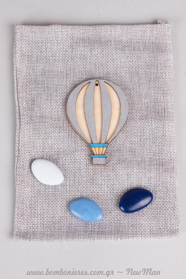 Μπομπονιέρα με θέμα αερόστατο σε πουγκί (γκρι απόχρωση).