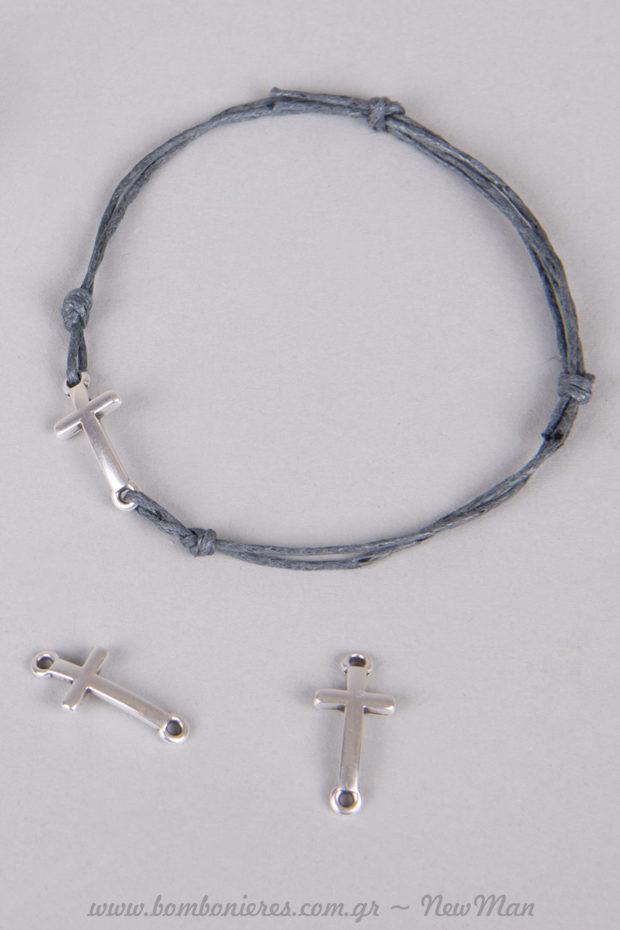 Κορδόνι κερωμένο (μπλε) με κυρτό σταυρουδάκι (επάργυρο) για τα μαρτυρικά της βάπτισης.