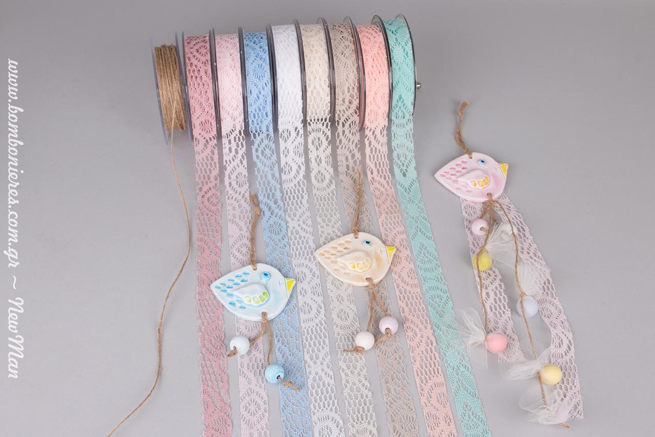 Υφασμάτινο Crochet για τις κρεμαστές μπομπονιέρες «τσίου-τσίου».