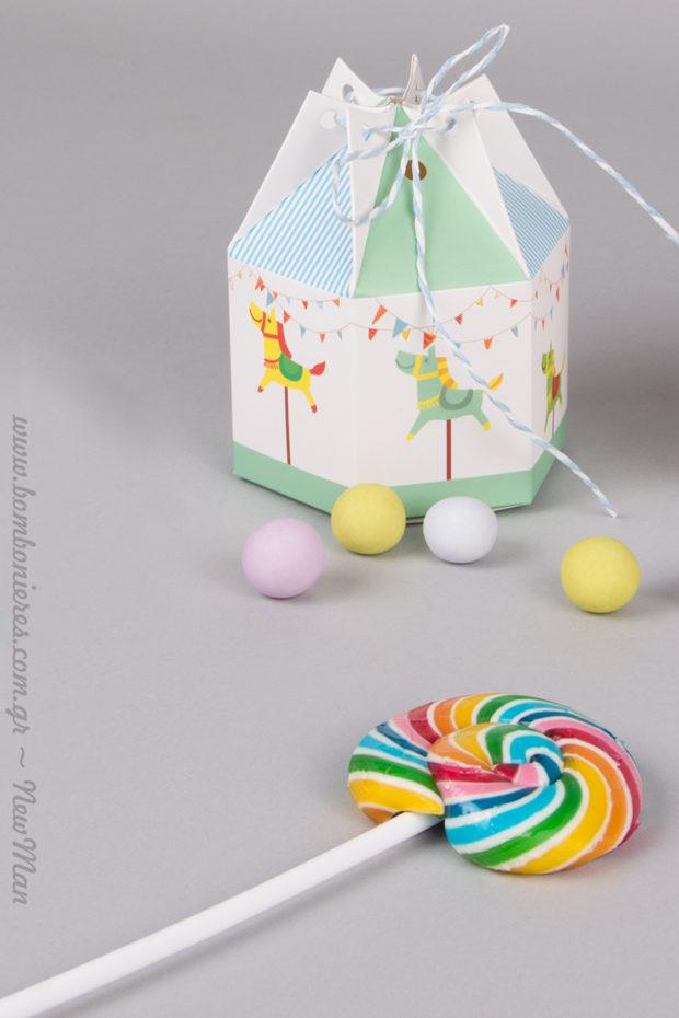 Ένα χάρτινο παραμύθι για τον μικρό ή τη μικρή σας, με μπομπονιέρα (κουτί) Καρουζέλ.