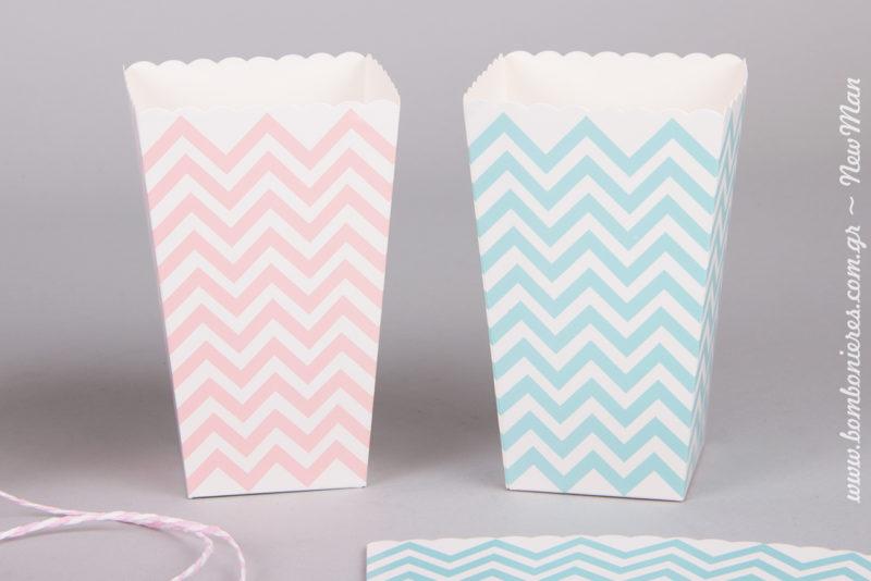 Χάρτινο κουτί Ποπ-κορν σε γαλάζιο ή ροζ για το Candy bar της βάπτισης.