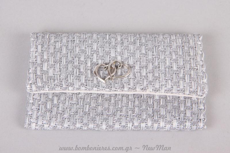 Δαντελένιος φάκελος (δίχτυ) σε γκρι-λευκό για την μπομπονιέρα του γάμου σας.