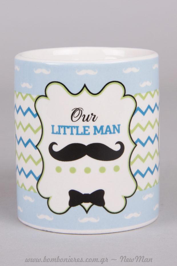 Κούπα «Οur little man» με μουστάκι και παπιγιόν.