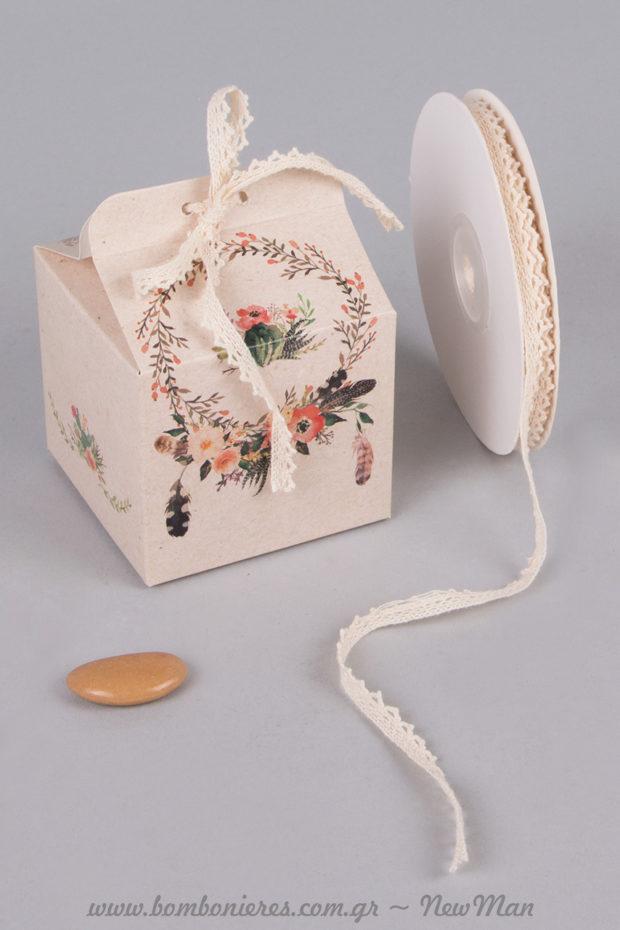 Boho αισθητική και φλοράλ μοτίβο για την μπομπονιέρα του γάμου σας.