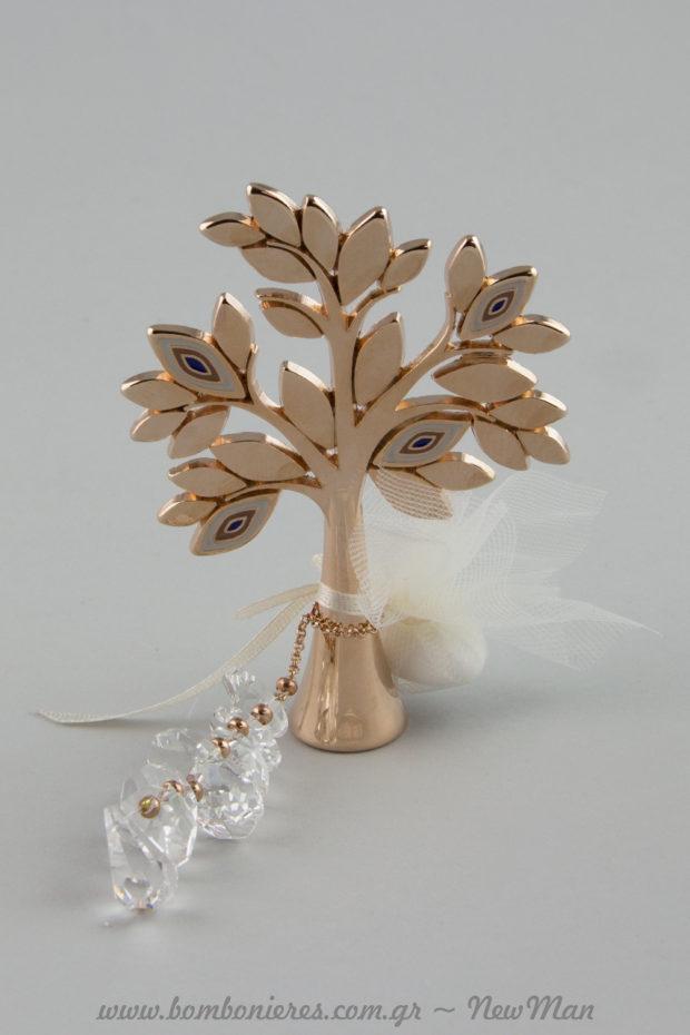 Δέντρο της Ζωής με ματάκια (737026) στο χρώμα του μπρούτζου κι αλυσίδα με μονό κουφέτο για την μπομπονιέρα του γάμου σας.
